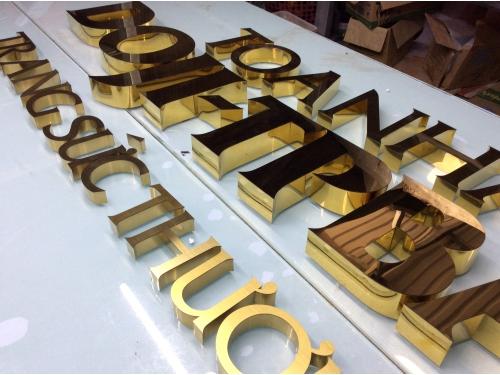 Chữ viền inox vàng trơn